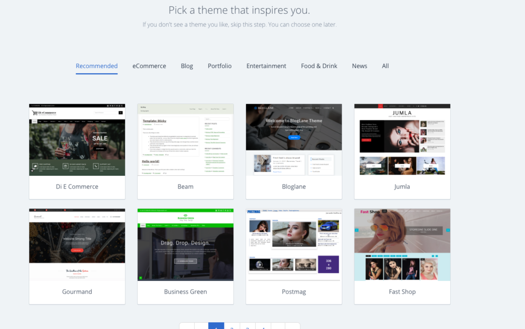 select a wordpress theme