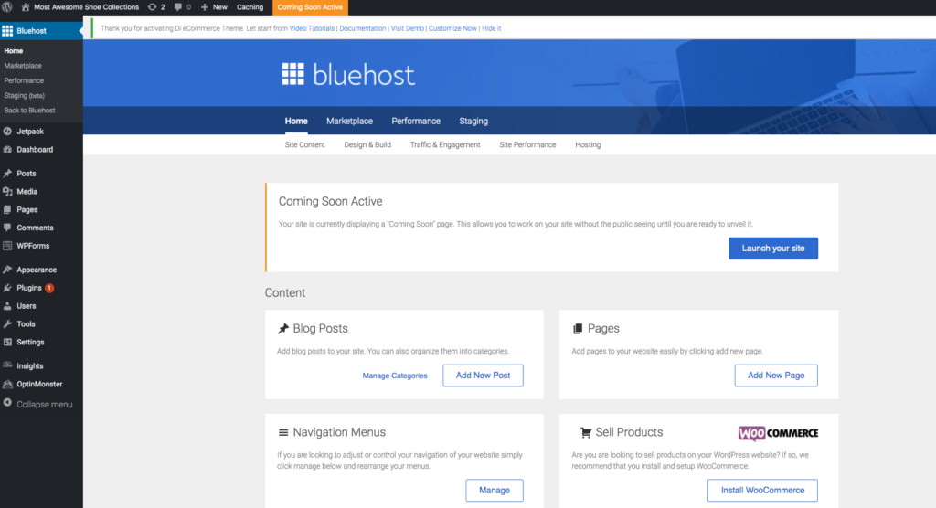 bluehost coming soon page on wordpress