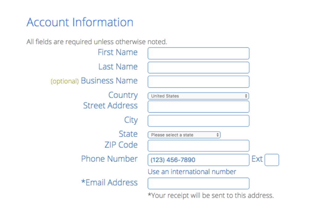 bluehost fill-in account information