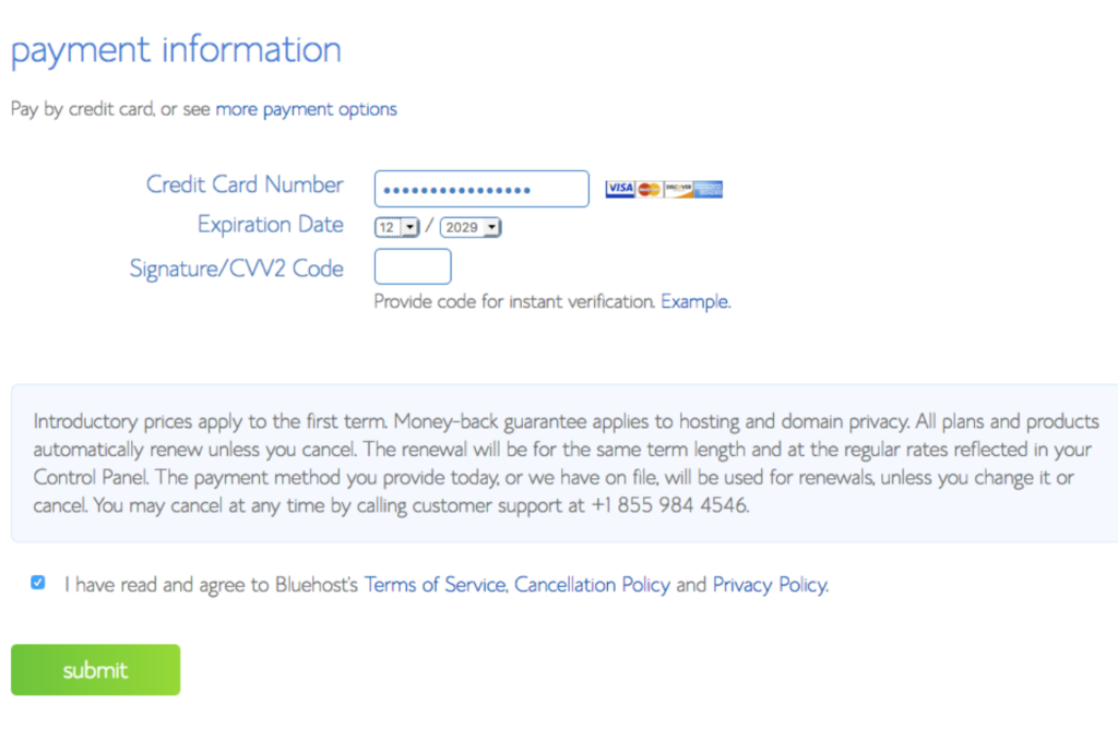 payment information bluehost