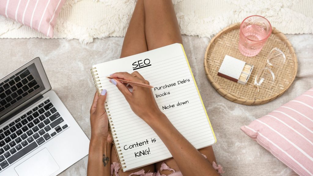 women taking notes on SEO strategies