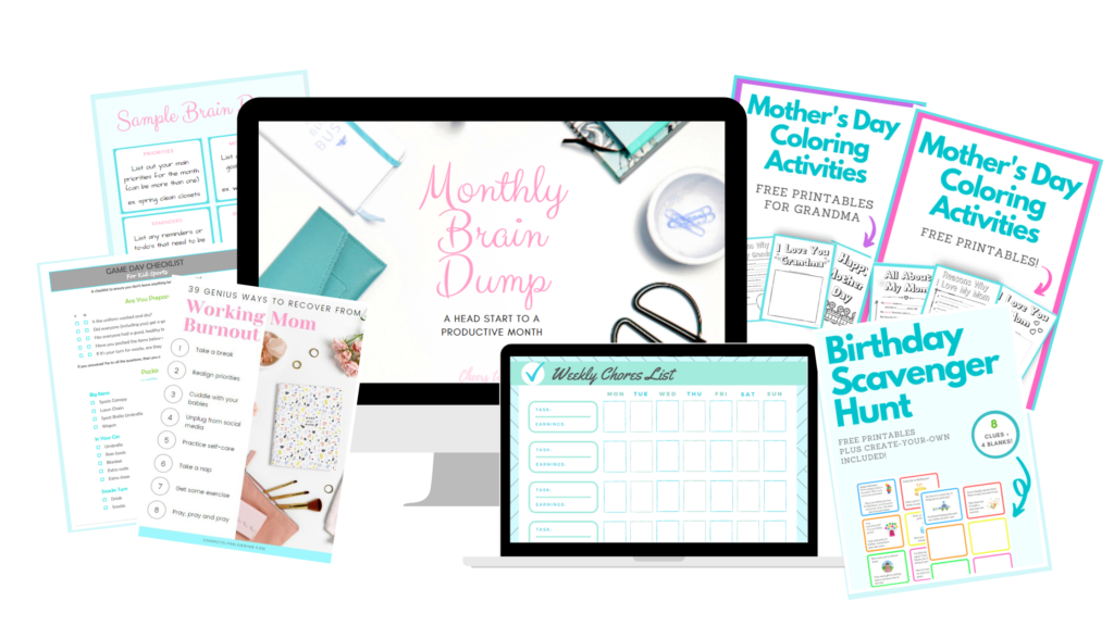 Mockup of all free digital products included in Free Resource Library