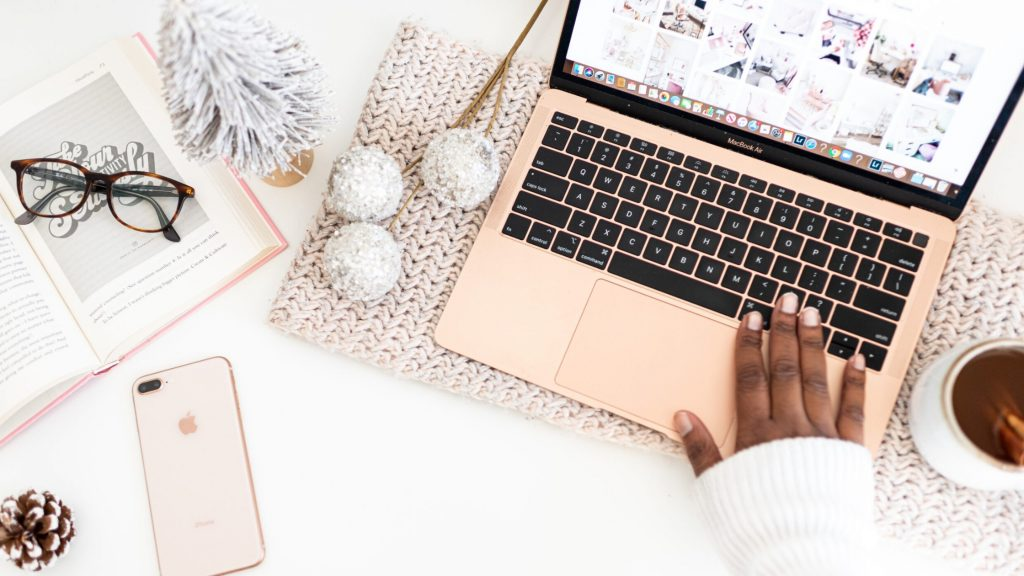 christmas blog post ideas on laptop screen